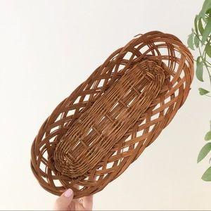 Oblong Wicker Wall Basket Boho Eclectic Decor